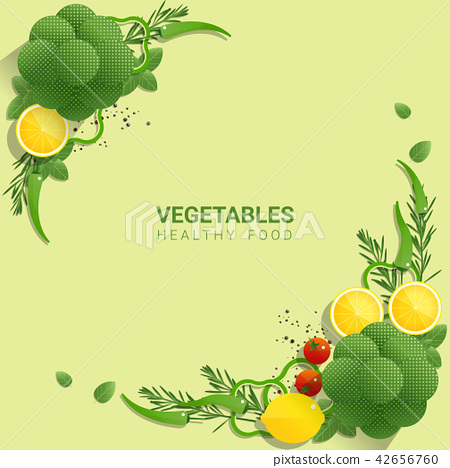Flat lay Fresh vegetables on green background  42656760