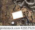 Vintage photo frame scissors keys flat lay 42657520