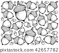 Hand Drawn Background of Autumn Acorns or Oak Nuts 42657782