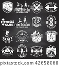 Set of fitness and skate board club concept with girls doing exercise and skateboarder silhouette on 42658068