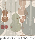 Music tiled pattern. musical instrument background 42658212