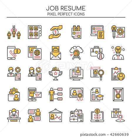 Job Resume , Thin Line and Pixel Perfect Icons. 42660639