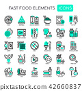 Fast food Elements ,   Pixel Perfect Icons. 42660837