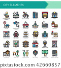 City Elements , Thin Line and Pixel Perfect Icons. 42660857