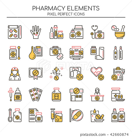 Pharmacy Elements ,  Pixel Perfect Icons. 42660874