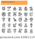 Game Elements , Thin Line and Pixel Perfect Icons 42661114