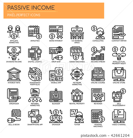 Passive Income , Thin Line and Pixel Perfect Icons 42661204