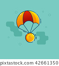 dollar coin fly with parachute vector flat design 42661350