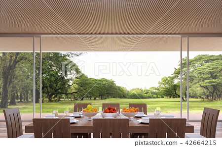 Modern contemporary dining room 3d render 42664215