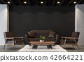 Modern loft living room with black wall 3d render 42664221