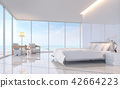 Modern white bedroom with sea view 3d render 42664223