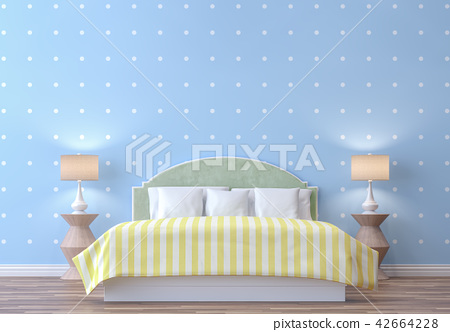 Pastel bedroom with blue wall 3d render 42664228