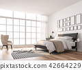 Scandinavian bedroom with large window 3d render 42664229