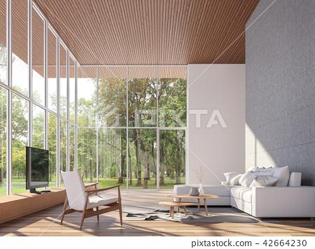 Tropical house living room 3d render 42664230