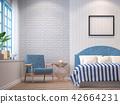 Vintage bedroom with blue furniture 3d render 42664231