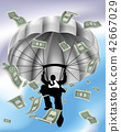 Parachuting Cash Silhouette Business Man  42667029
