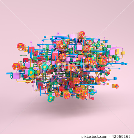 Complex workflow network diagram, 3D rendering 42669163