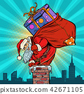 Santa Claus with bag of presents climbing into the chimney 42671105