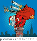 Santa Claus with champagne climbs the chimney 42671113