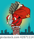 Santa Claus with money climbs into the chimney 42671114
