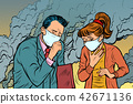 polluted air. man and woman. bad ecology 42671136