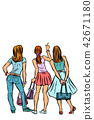 Young women shoppers back. Isolate on a white background 42671180