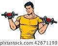 training, dumbbell, vector 42671199