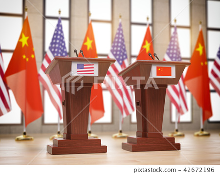Flags of the USA and China. International meeting 42672196
