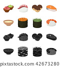 Bowl of soup, caviar, shrimp with rice. Sushi set collection icons in black,cartoon style vector 42673280