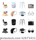 Lottery, hearing aid, tonometer, glasses.Old age set collection icons in black,cartoon style vector 42673431