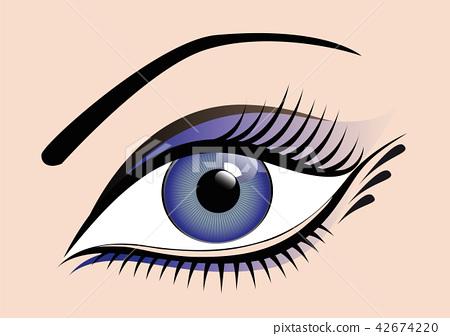 Woman blue eye with long eyelashes 42674220
