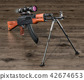 Assault rifle with telescopic sight and bipod 42674653