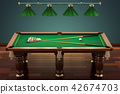 Billiard table with balls and cue in room 42674703