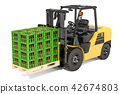 Crates full of beer bottles on the forklift truck 42674803