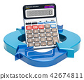 Diagram from arrows with calculator, 3D rendering 42674811