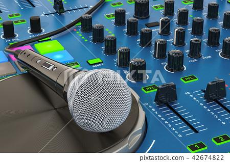 DJ Console with microphone closeup 42674822