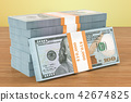 Dollar packs on the wooden table. 3D rendering 42674825