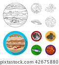 Moon, Venus of the planet of the solar system. Nil, a meteorite. Planets set collection icons in 42675880