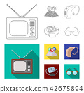 Lottery, hearing aid, tonometer, glasses.Old age set collection icons in outline,flat style vector 42675894