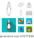 Denmark, history, restaurant, and other web icon in outline,flat style.Sandwich, food, bread, icons 42675996
