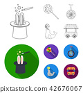 Lollipop, trained seal, snack on wheels, monocycle.Circus set collection icons in outline,flat style 42676067