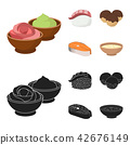 Wasabi sauce and ginger, salmon steak, octopus. Sushi set collection icons in cartoon,black style 42676149
