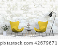 3D rendering of interior with armchair,plant.  42679671