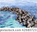 테트라포드, 방파제, 바다 42680723