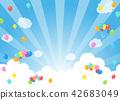 푸른 하늘에 풍선 | 배경 일러스트 42683049
