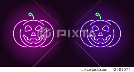 Kind neon pumpkin in purple and violet color 42685074
