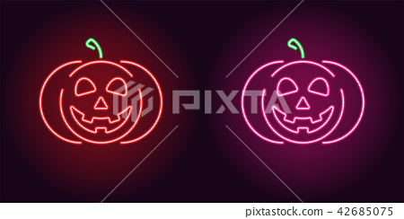 Kind neon pumpkin in red and pink color 42685075