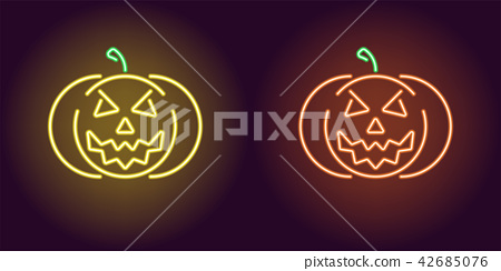 Evil neon pumpkin in yellow and orange color 42685076