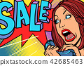 Sale, shopping season. Woman screams in phone 42685463