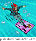 Christmas businessman and Bank card. Speed extreme sports 42685471